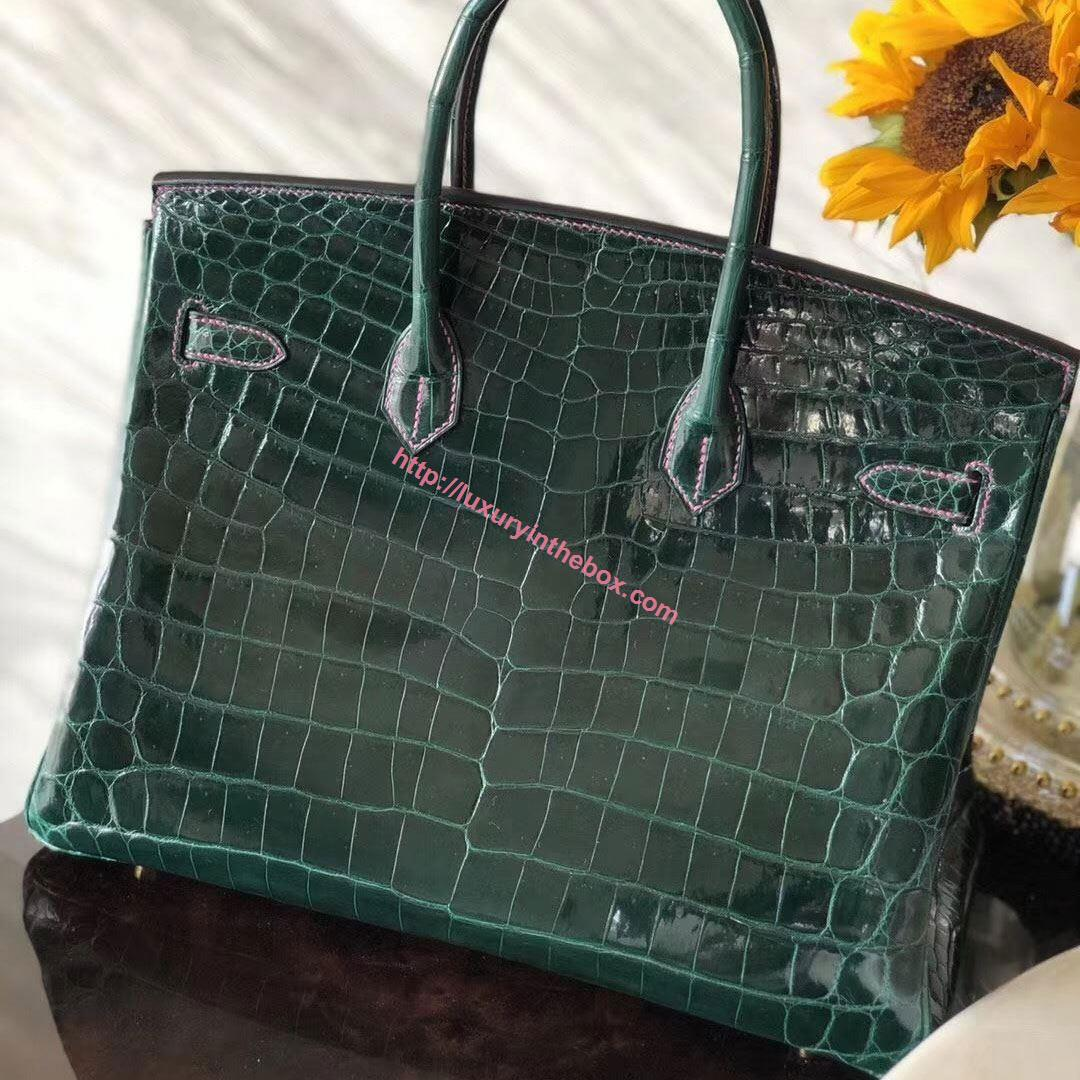 Picture of Hermes 35cm Crocodile Leather Emerald (Pink lines) with Gold