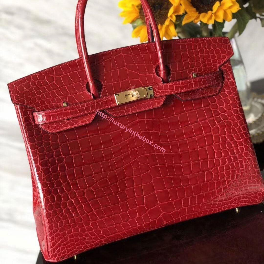 Picture of Hermes 35cm Crocodile Leather F Red with Gold