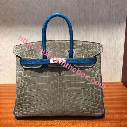 Picture of Hermes 25cm Crocodile Leather Grey with Blue handles Silver