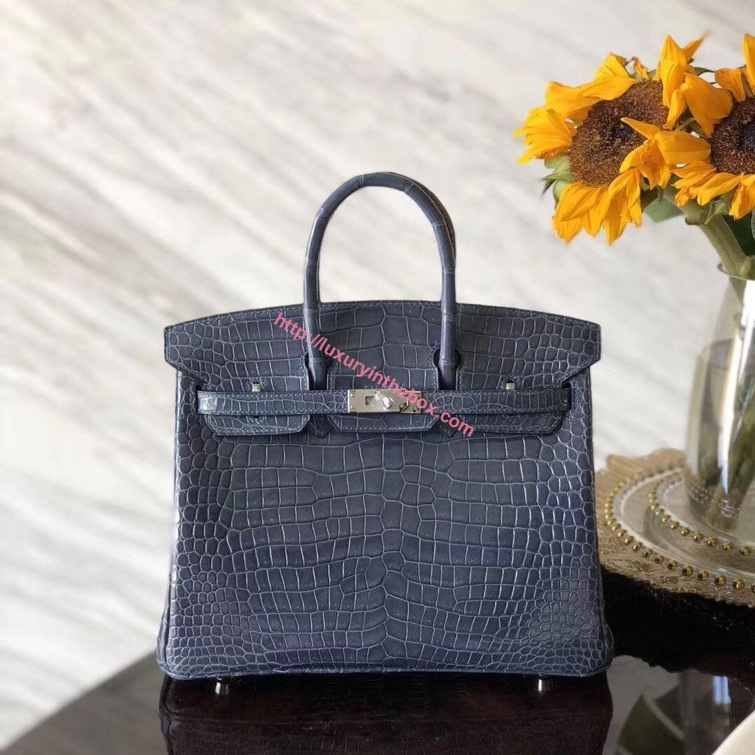 Picture of Hermes 25cm Crocodile Leather Grey Blue Silver