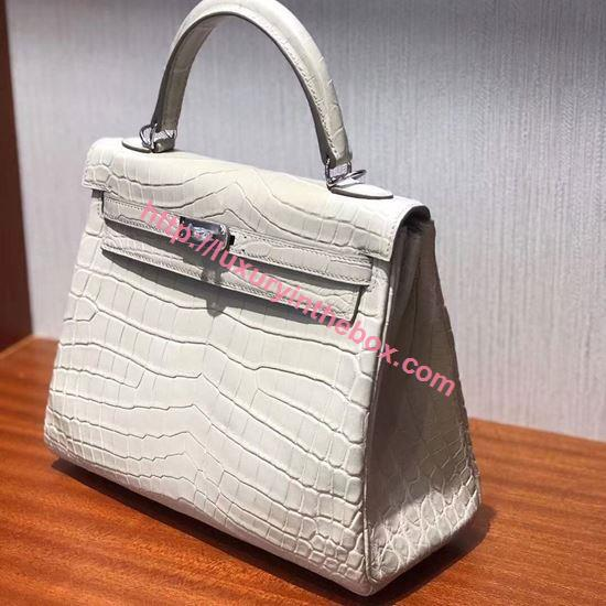 Picture of Hermes 25cm Matte Crocodile Leather Milk White with Silver