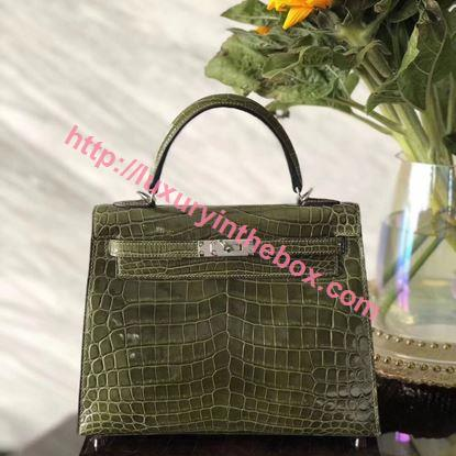 Picture of Hermes Kelly 25cm Crocodile leather Tote Bag Olive Green  Silver