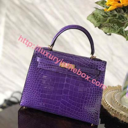 Picture of Hermes Kelly 25cm Crocodile leather Tote Bag Purple Gold
