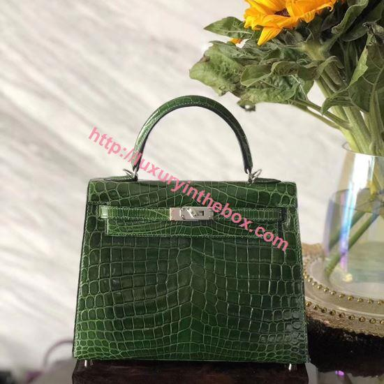 Picture of Hermes Kelly 25cm Crocodile leather Tote Bag Emerald Silver