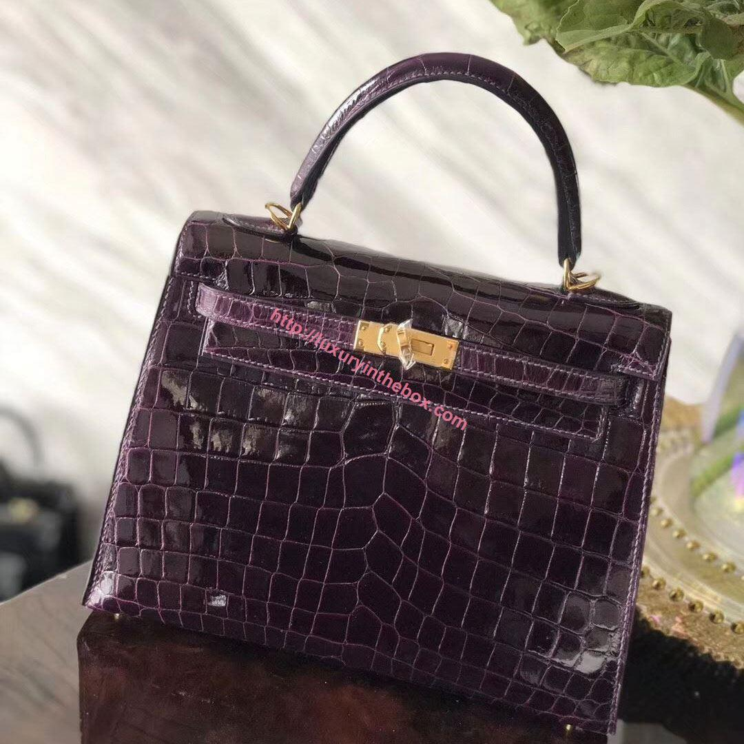 Picture of Hermes Kelly 25cm Crocodile leather Tote Bag Crystal Purple Gold