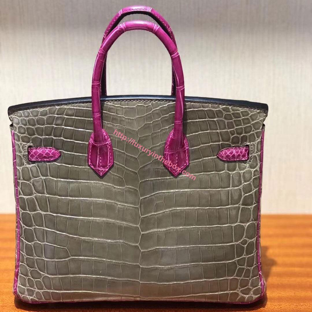 Picture of Hermes 25cm Crocodile Leather Grey with Violet handles Silver