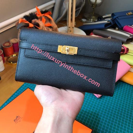 Picture of Kelly wallet black- golden hardware