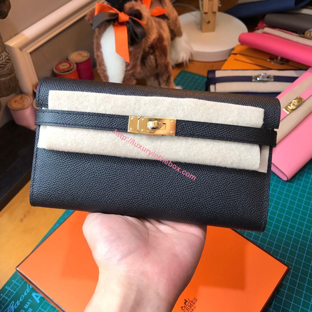 Picture of Kelly wallet black- golden hardware