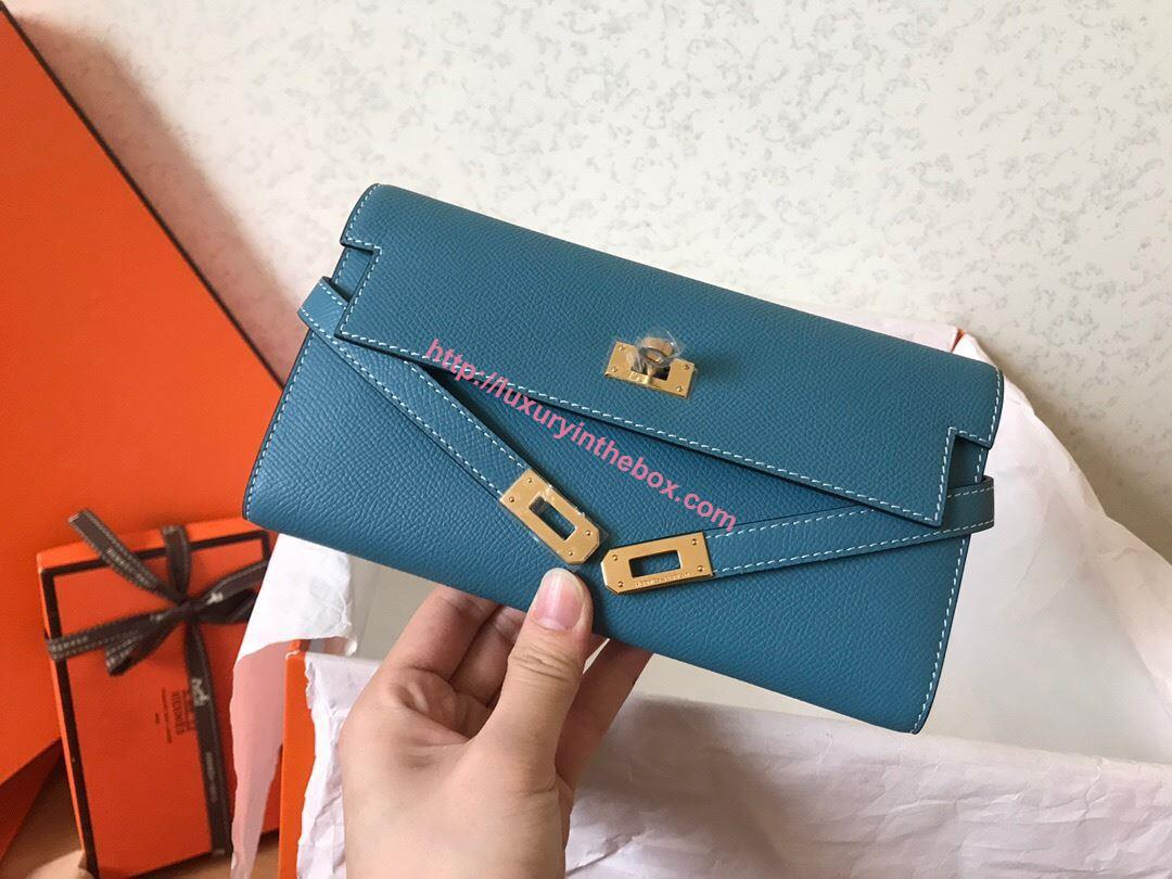 Picture of Hermes Kelly Wallet Epsom Leather Blue