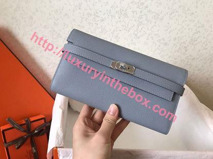 Picture of Hermes Kelly Wallet Epsom Leather Light Blue