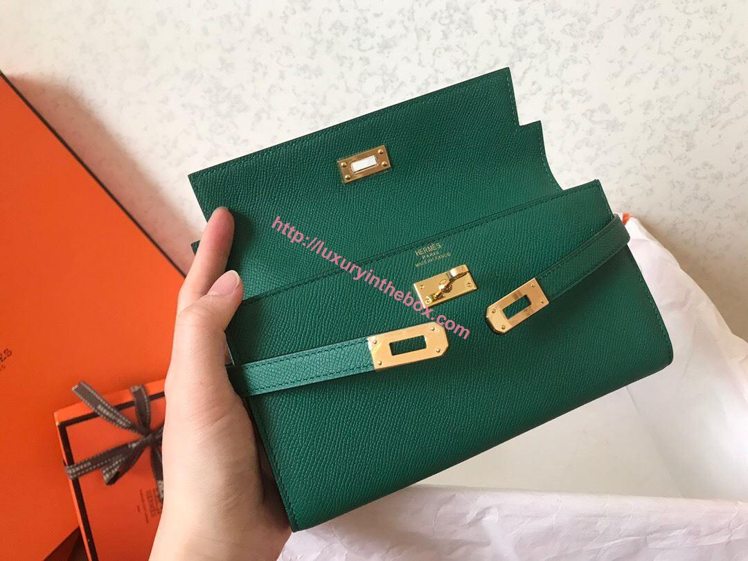 Picture of Hermes Kelly Wallet Epsom Leather Tully Green