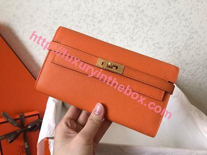 Picture of Hermes Kelly Wallet Epsom Leather Orange