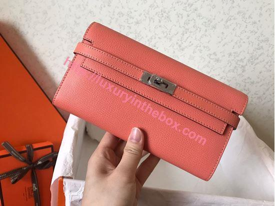 Picture of Hermes Kelly Wallet Epsom Leather Salmon Pink