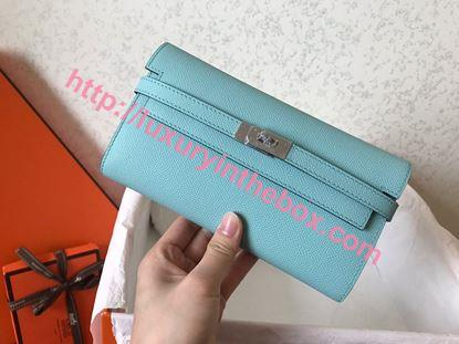 Picture of Hermes Kelly Wallet Epsom Leather  Light bule
