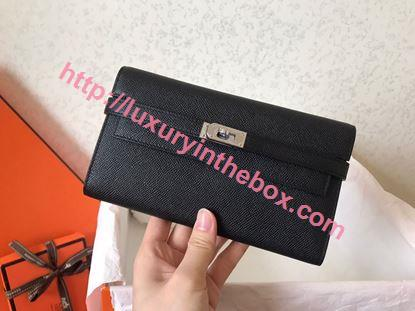 Picture of Hermes Kelly Wallet Epsom Leather  Black