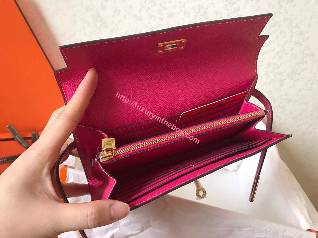 Picture of Hermes Kelly Wallet Epsom Leather  Pink
