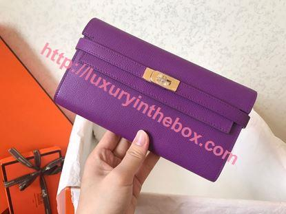 Picture of Hermes Kelly Wallet Epsom Leather  Purple Violet