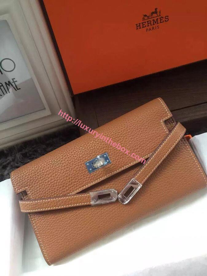 Picture of Hermes Kelly Wallet Togo Leather Terra Brown