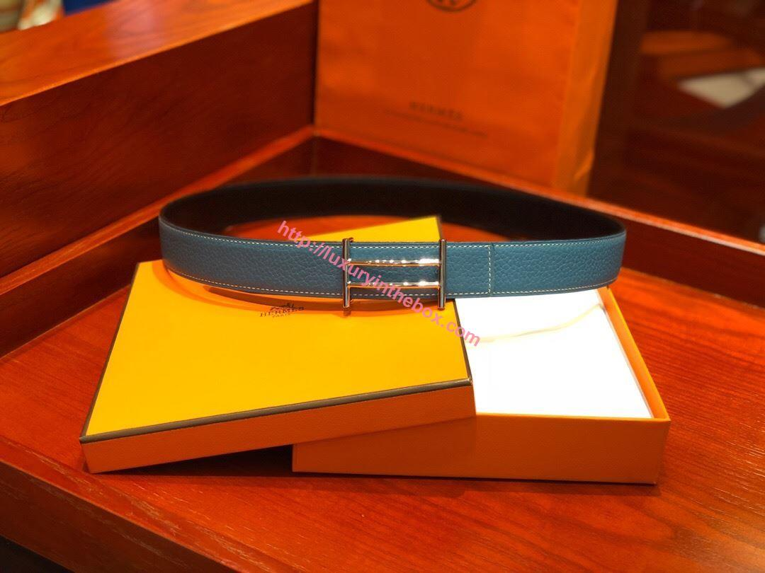 Picture of Hermes Togo leather Belt Silver/Cow Blue