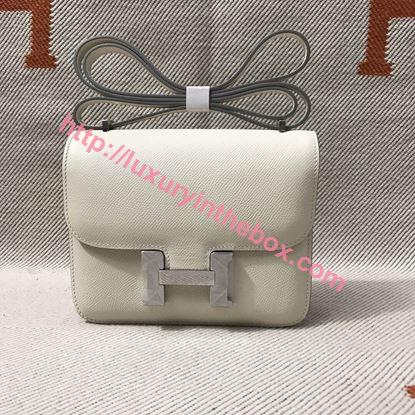 Picture of Hermes Constance 24cm Shoulder Bag Milk White with Gold/Silver