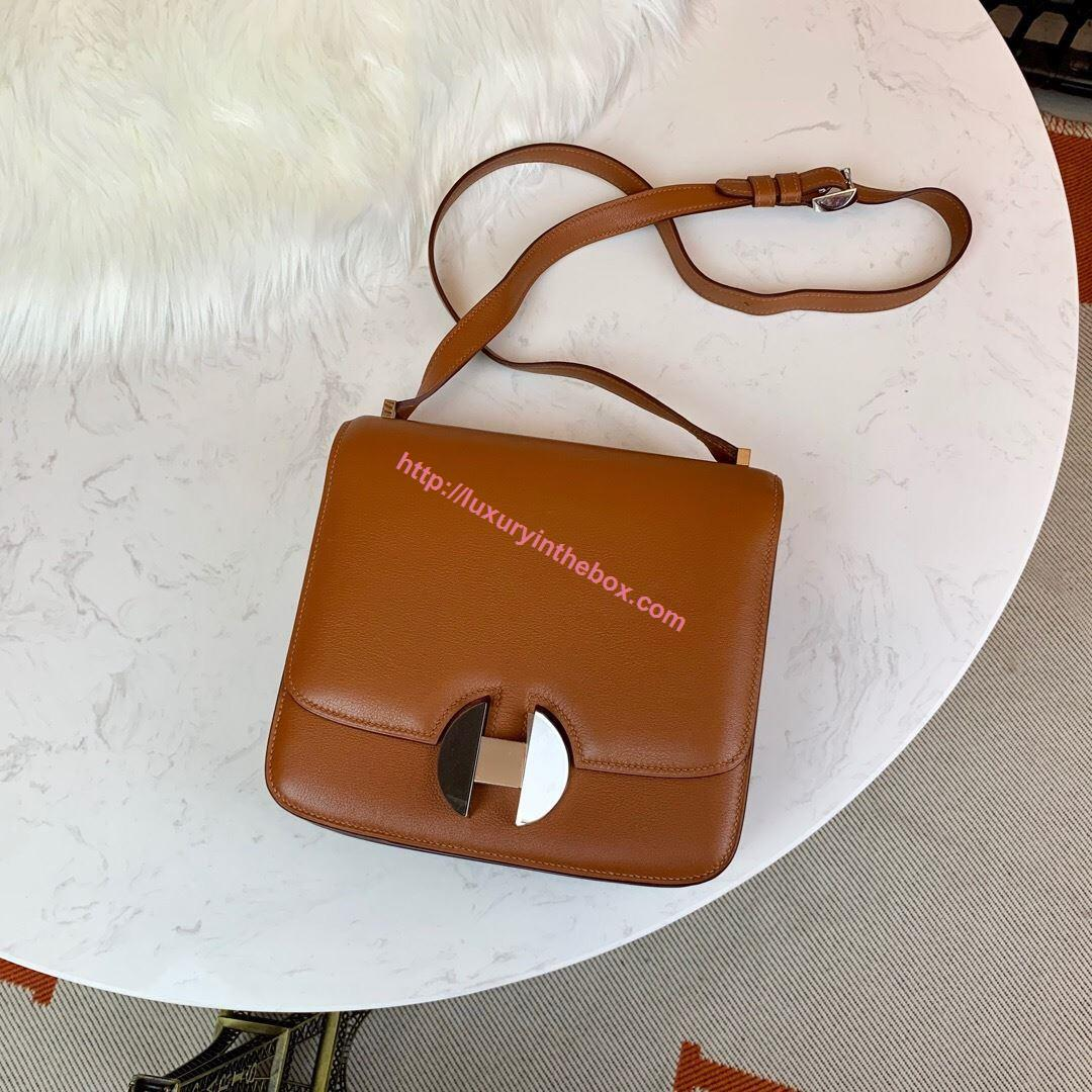 Picture of Hermes Constance 24cm Shoulder Bag Brown with Gold/Silver