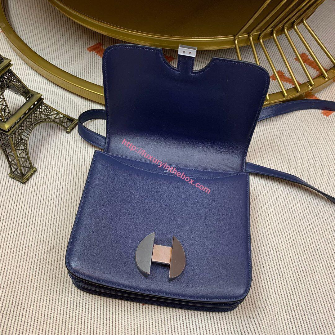 Picture of Hermes Constance 24cm Shoulder Bag Navy  with Gold/Silver