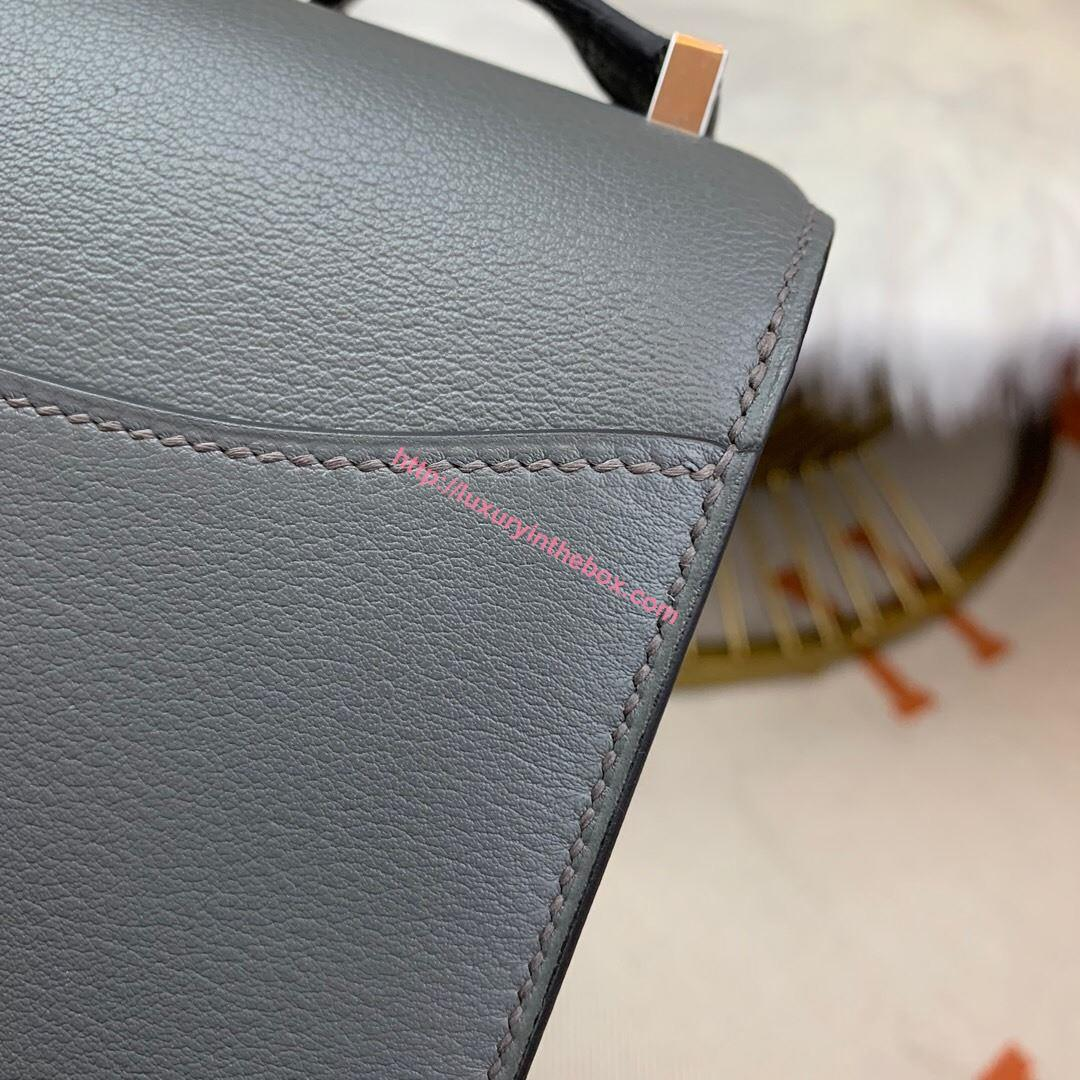 Picture of Hermes Constance 24cm Shoulder Bag Grey Gold/Silver
