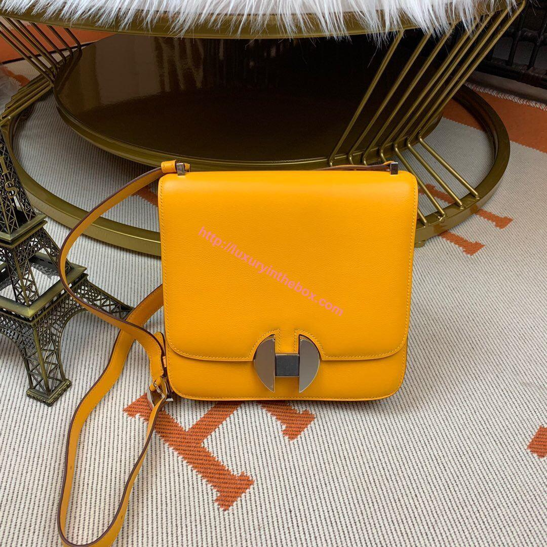Picture of Hermes Constance 24cm Shoulder Bag Amber Yellow Gold/Silver