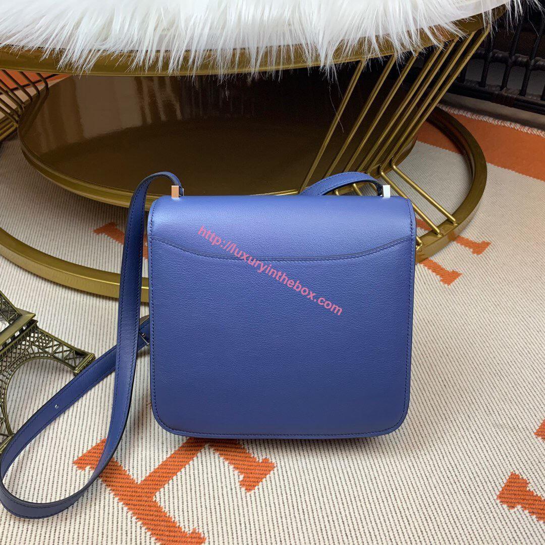 Picture of Hermes Constance 24cm Shoulder Bag Brillant Blue Gold/Silver