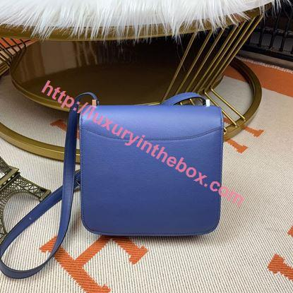 Picture of Hermes Constance 24cm Shoulder Bag Brillant Blue Gold/Silver