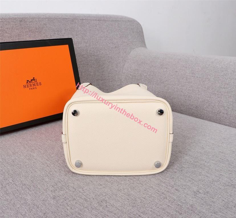 Picture of Hermes Picotin Lock 18cm/22cm Calfskin Leather Handbag Milk white Gold/Silver