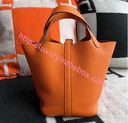 Picture of Hermes Picotin Lock 18cm/22cm Calfskin Leather Handbag Orange Gold/Silver