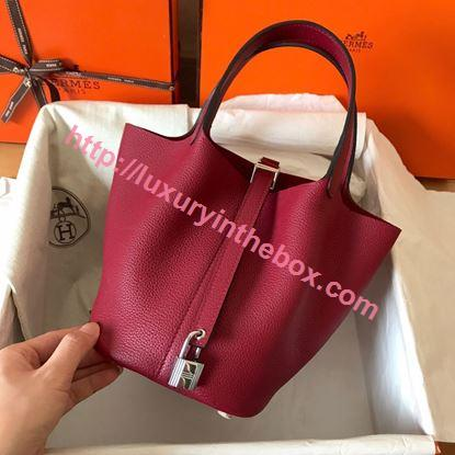 Picture of Hermes Picotin Lock 18cm/22cm Calfskin Leather Handbag Vermilion Gold/Silver