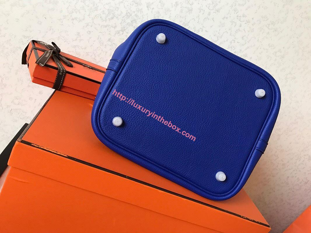 Picture of Hermes Picotin Lock 18cm/22cm Calfskin Leather Handbag Electric Blue Gold/Silver