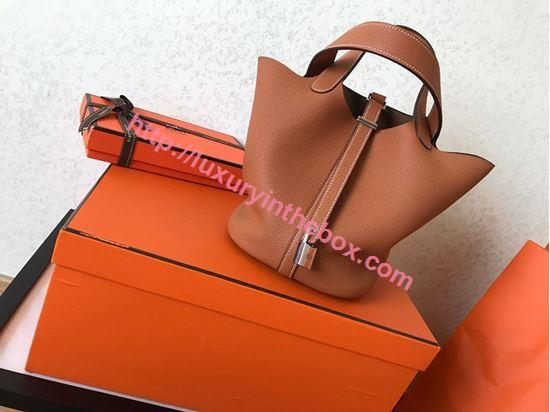 Picture of Hermes Picotin Lock 18cm/22cm Calfskin Leather Handbag Saffron Yellow Gold/Silver
