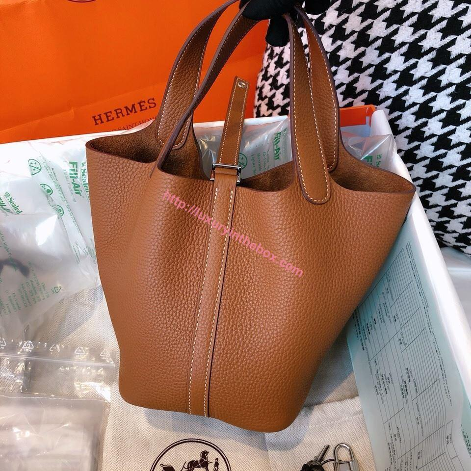 Picture of Hermes Picotin Lock 18cm/22cm Calfskin Leather Handbag Brown Gold/Silver