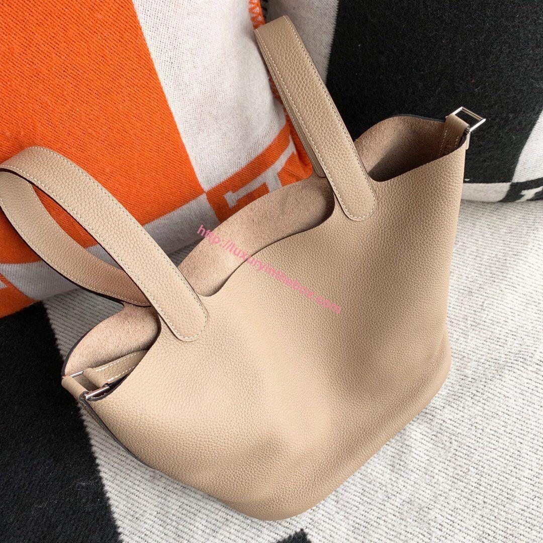 Picture of Hermes Picotin Lock 18cm/22cm Calfskin Leather Handbag Beige Grey Gold/Silver