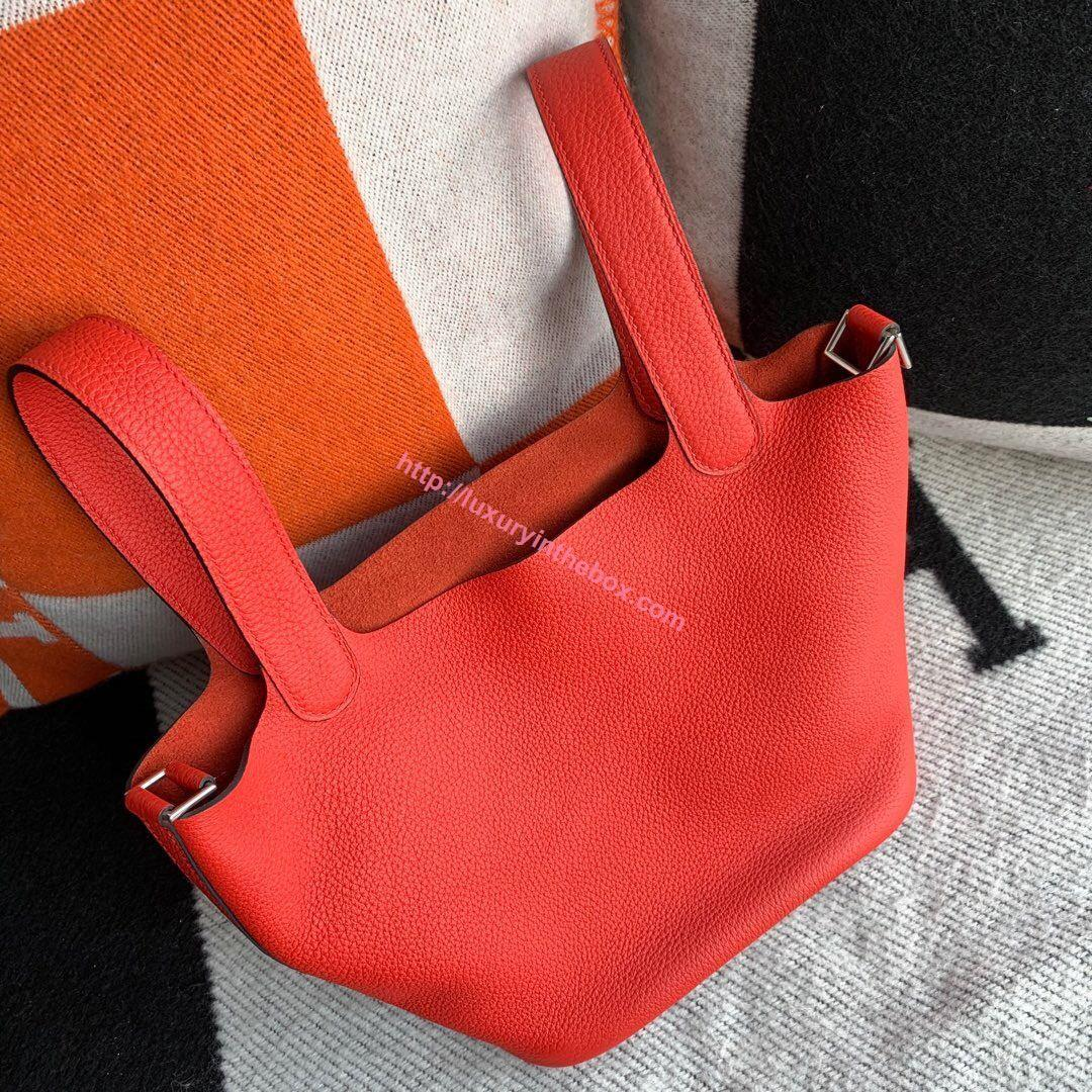 Picture of Hermes Picotin Lock 18cm/22cm Calfskin Leather Handbag Tomato Red Gold/Silver