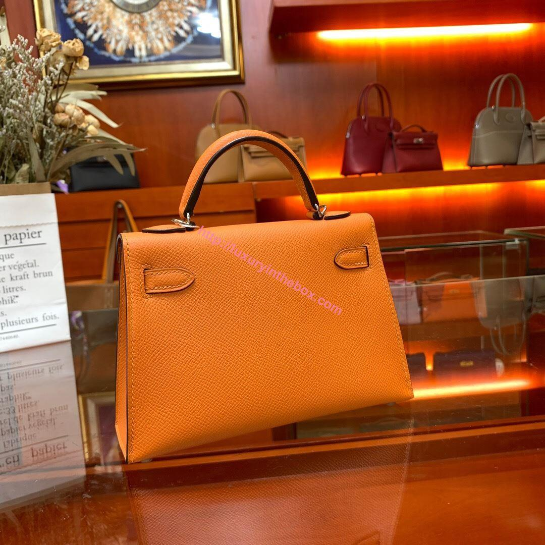 Picture of Hermes Mini Kelly II 19cm Epsom Leather Tote Bag Orange Gold/Silver Buckle