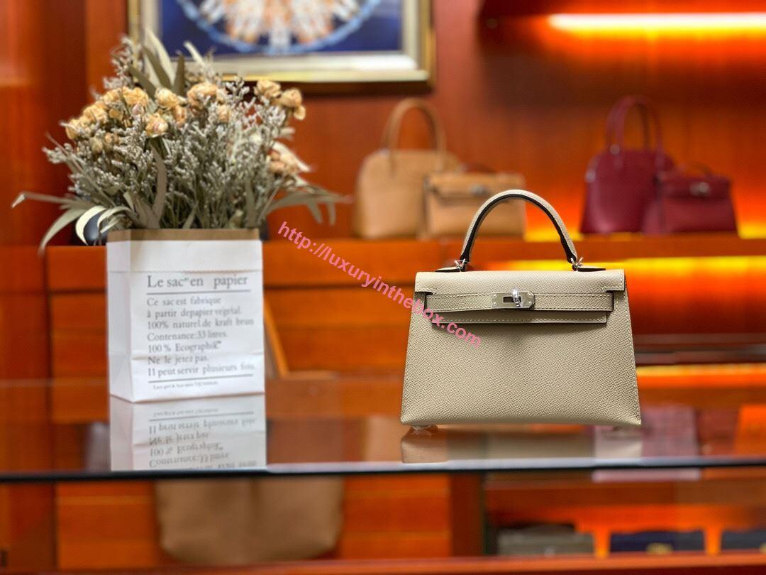Picture of Hermes Mini Kelly II 19cm Epsom Leather Tote Bag Trench Gold/Silver Buckle