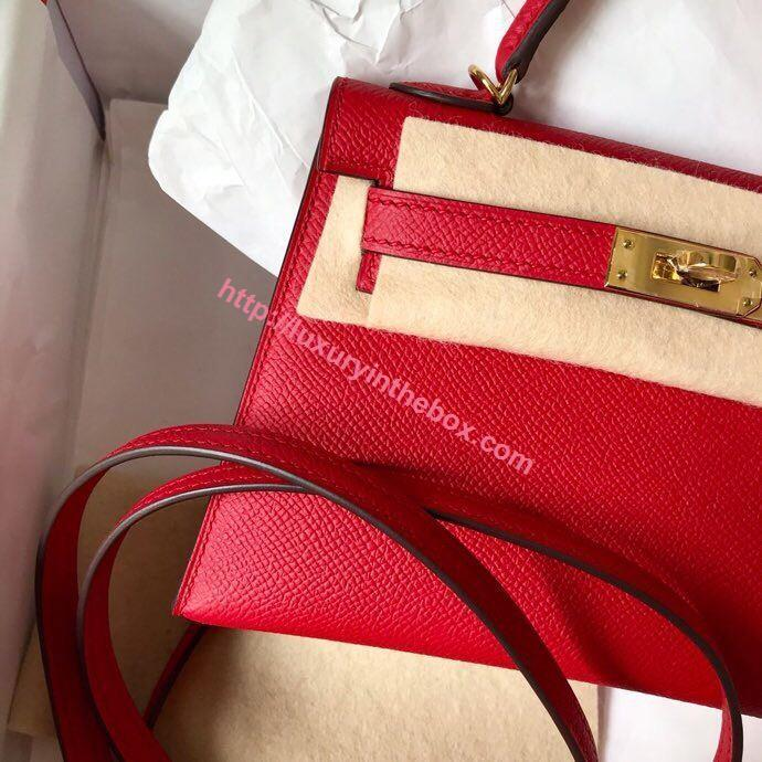 Picture of Hermes Mini Kelly II 19cm Epsom Leather Tote Bag Red Gold/Silver Buckle