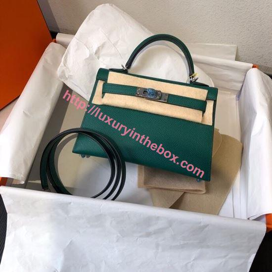 Picture of Hermes Mini Kelly II 19cm Epsom Leather Tote Bag green Gold/Silver Buckle