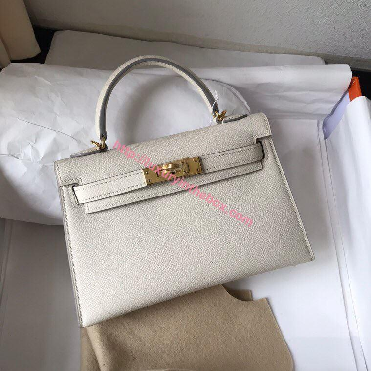 Picture of Hermes Mini Kelly II 19cm Epsom Leather Tote Bag milk white Gold/Silver Buckle
