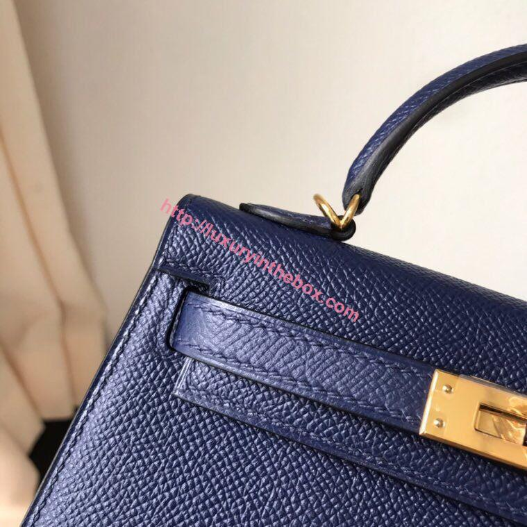 Picture of Hermes Mini Kelly II 19cm Epsom Leather Tote Bag deep blue Gold/Silver Buckle
