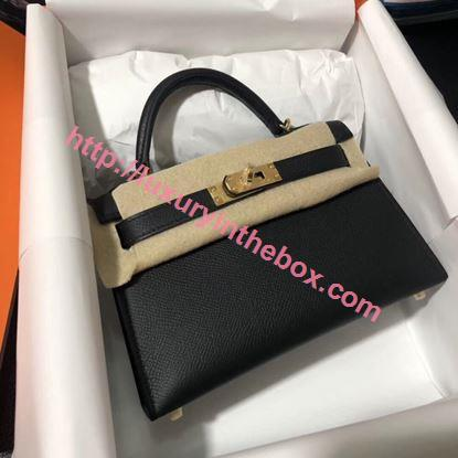 Picture of Hermes Mini Kelly II 19cm Epsom Leather Tote Bag black Gold/Silver Buckle