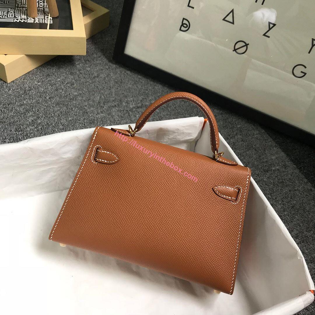 Picture of Hermes Mini Kelly II 19cm Epsom Leather Tote Bag glod brown Gold/Silver Buckle