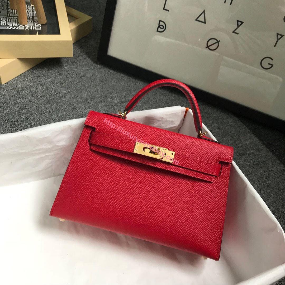 Picture of Hermes Mini Kelly II 19cm Epsom Leather Tote Bag candy red Gold/Silver Buckle