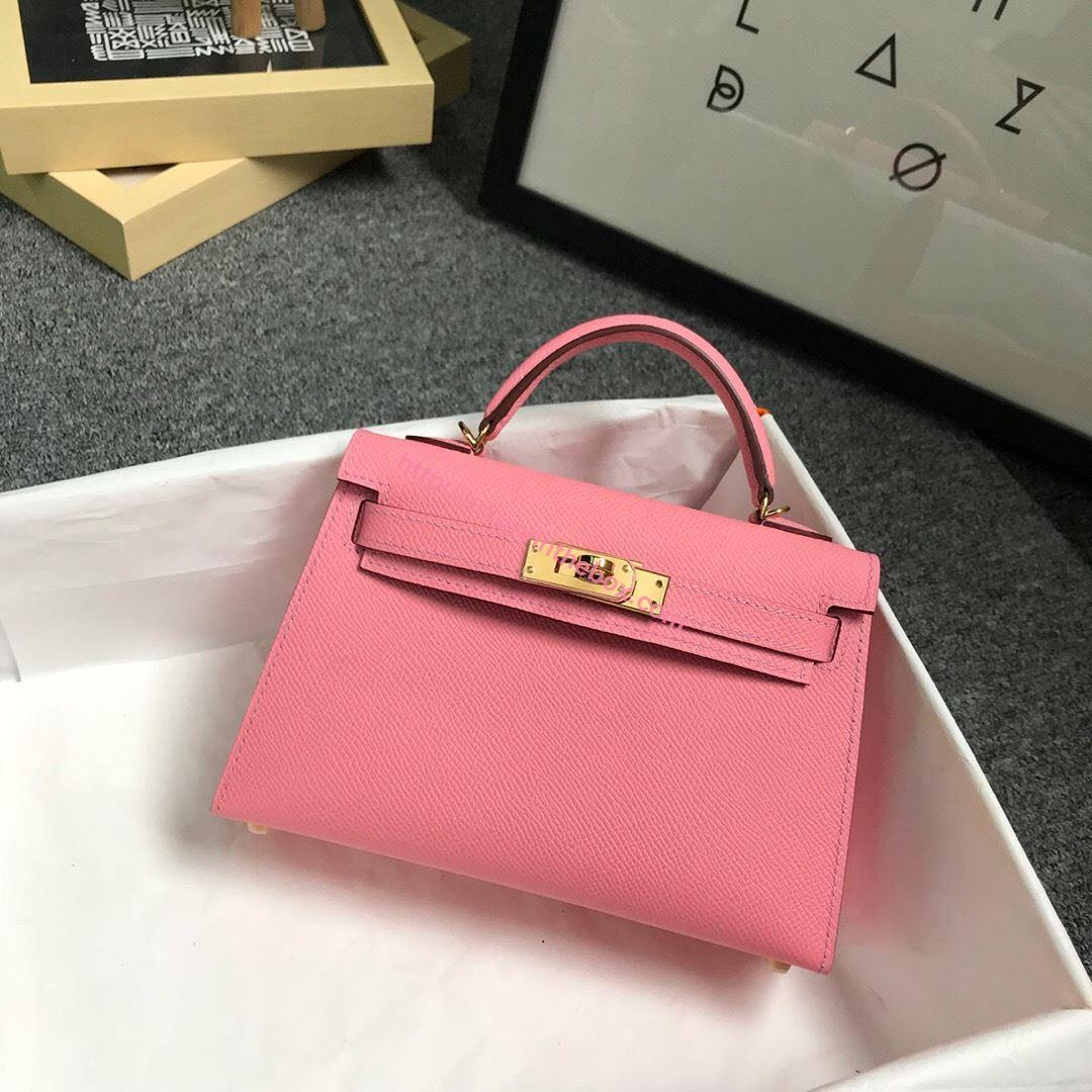 Picture of Hermes Mini Kelly II 19cm Epsom Leather Tote Bag milk pink Gold/Silver Buckle