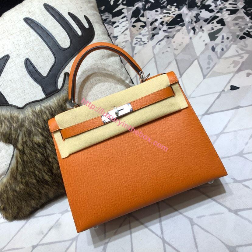 Picture of Hermes Kelly 25cm/28cm/32cm Epsom Leather Tote Bag Orange Gold/Silver Buckle