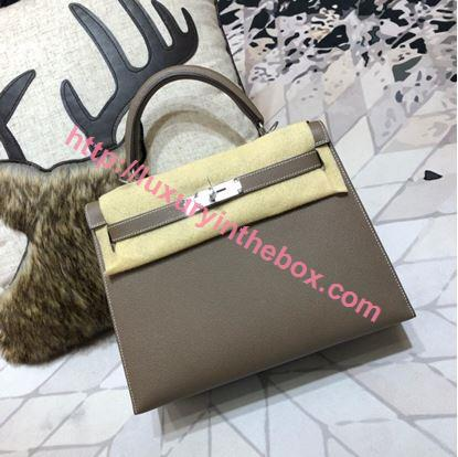 Picture of Hermes Kelly 25cm/28cm/32cm Epsom Leather Tote Bag Pearl dark grey Gold/Silver Buckle